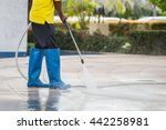 outdoor floor cleaning with... | Shutterstock . vector #442258981