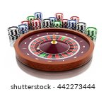 3d renderer image. Casino roulette wheel with chips. Gambling games. Isolated white background. - stock photo