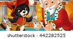 cartoon cat visiting king in...   Shutterstock . vector #442282525