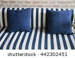 modern green sofa with blue and ...