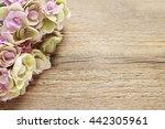 Pink Hortensia Flower On Woode...