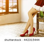 xmas time and woman legs  | Shutterstock . vector #442315444