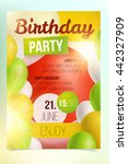 birthday party poster with... | Shutterstock .eps vector #442327909