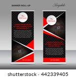black and red roll up banner... | Shutterstock .eps vector #442339405