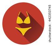 bikini icon. flat color design. ...