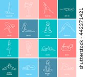 yoga pose flat line icons set ... | Shutterstock .eps vector #442371421