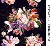 retro styled floral pattern... | Shutterstock .eps vector #442391605