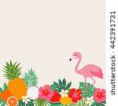 tropical summer border frame...   Shutterstock .eps vector #442391731