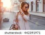 young beautiful girl in stylish ... | Shutterstock . vector #442391971