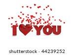 i love you glass words on white ... | Shutterstock . vector #44239252