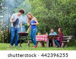 happy couple making barbecue... | Shutterstock . vector #442396255