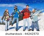 friends having fun in winter | Shutterstock . vector #44242573