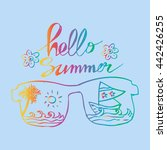 hello summer with glasses and... | Shutterstock .eps vector #442426255
