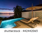 swimming pool with sunset view... | Shutterstock . vector #442442065
