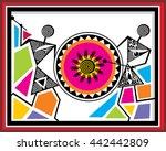 indian tribal paintings. warli... | Shutterstock .eps vector #442442809