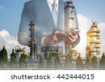 double exposure of businessman... | Shutterstock . vector #442444015