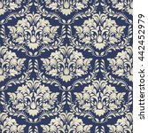 seamless damask pattern in blue ... | Shutterstock .eps vector #442452979