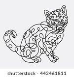 cat pet animal abstract doodle... | Shutterstock .eps vector #442461811