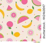 mix tropical fruits seamless... | Shutterstock .eps vector #442463047