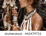 attractive wild boho woman... | Shutterstock . vector #442479721