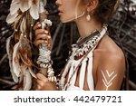 attractive wild boho woman... | Shutterstock . vector #442479721