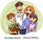 young happy family. | Shutterstock .eps vector #442479931