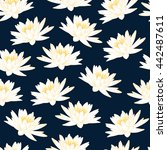 Water Lily Navy Blue Pattern