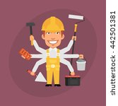 builder master many hands | Shutterstock .eps vector #442501381