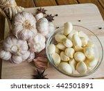 garlic bulb  garlic clove and... | Shutterstock . vector #442501891