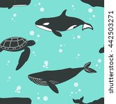 seamless pattern with whales... | Shutterstock . vector #442503271