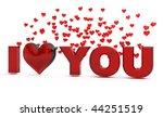 i love you glass words on white ... | Shutterstock . vector #44251519