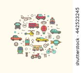 vehicle and transport icons in... | Shutterstock . vector #442523245