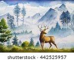 watercolor landscape. mountains ... | Shutterstock . vector #442525957
