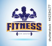fitness logo. strong and weight ... | Shutterstock .eps vector #442534177