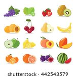 set of fruits icons isolated on ... | Shutterstock .eps vector #442543579