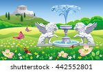 vector summer landscape with a... | Shutterstock .eps vector #442552801