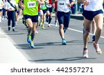 marathon runners running on the ... | Shutterstock . vector #442557271