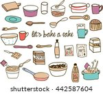 baking tools and materials  | Shutterstock .eps vector #442587604