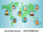 set of people icons on earth... | Shutterstock . vector #442588264
