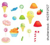 dessert cupcake donut ice cream ... | Shutterstock .eps vector #442591927