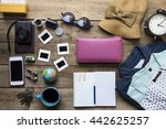 travel planning on wooden... | Shutterstock . vector #442625257