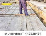 workers are set up concrete... | Shutterstock . vector #442628494