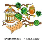 cartoon owl and cage  vector... | Shutterstock .eps vector #442666309
