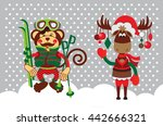 christmas monkey and the deer ... | Shutterstock .eps vector #442666321