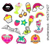 happy colorful patches... | Shutterstock .eps vector #442671427