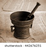 Old Bronze Mortar And Pestle O...