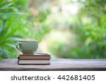 notebook with pencil and cup on ... | Shutterstock . vector #442681405