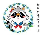 cute fashionable raccoon girl... | Shutterstock .eps vector #442711297