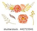 floral garland  design elements ... | Shutterstock . vector #442715341