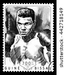 Small photo of NEW YORK, USA - CIRCA 2016: A postage stamp printed in Guinea Bissau showing Muhammad Ali, circa 2014